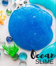homemade ocean slime with plastic fish