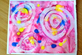 example of colorful homemade sun print art
