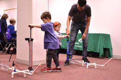 kids launching rockets at Tech Fest